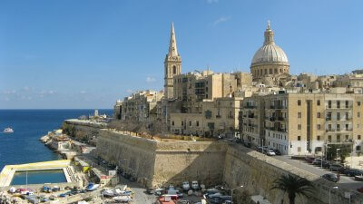 View of the City Of Valletta Fortifications in Malta