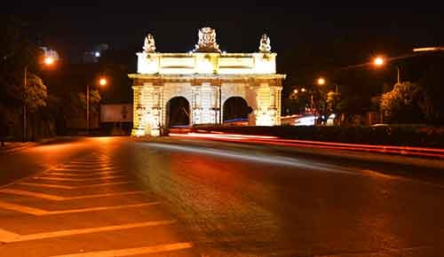 The main road at night leading to Floriana through Port Des Bombs gate