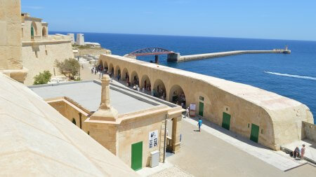 Fort St. Elmo with view of the breakwater entrance to the Grand Harbour of Malta