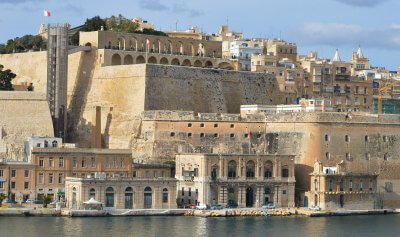 The Valletta fortifications from the Grand Harbour side showing the Upper Barrakka Gardens Malta