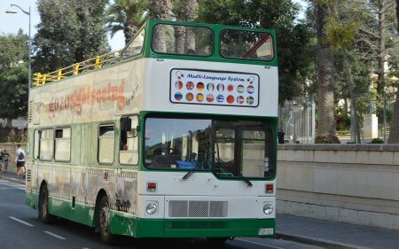 Gozo Sightseeing Bus passing through Rabat, Gozo