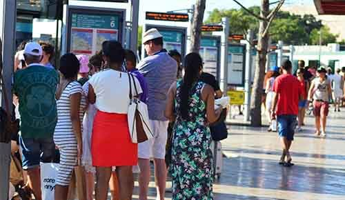 People waiting for the bus at Valletta terminus