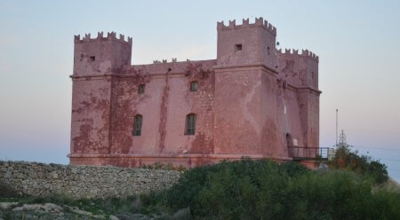 A view of the Red Tower on top of the hill from Ghadira Bay