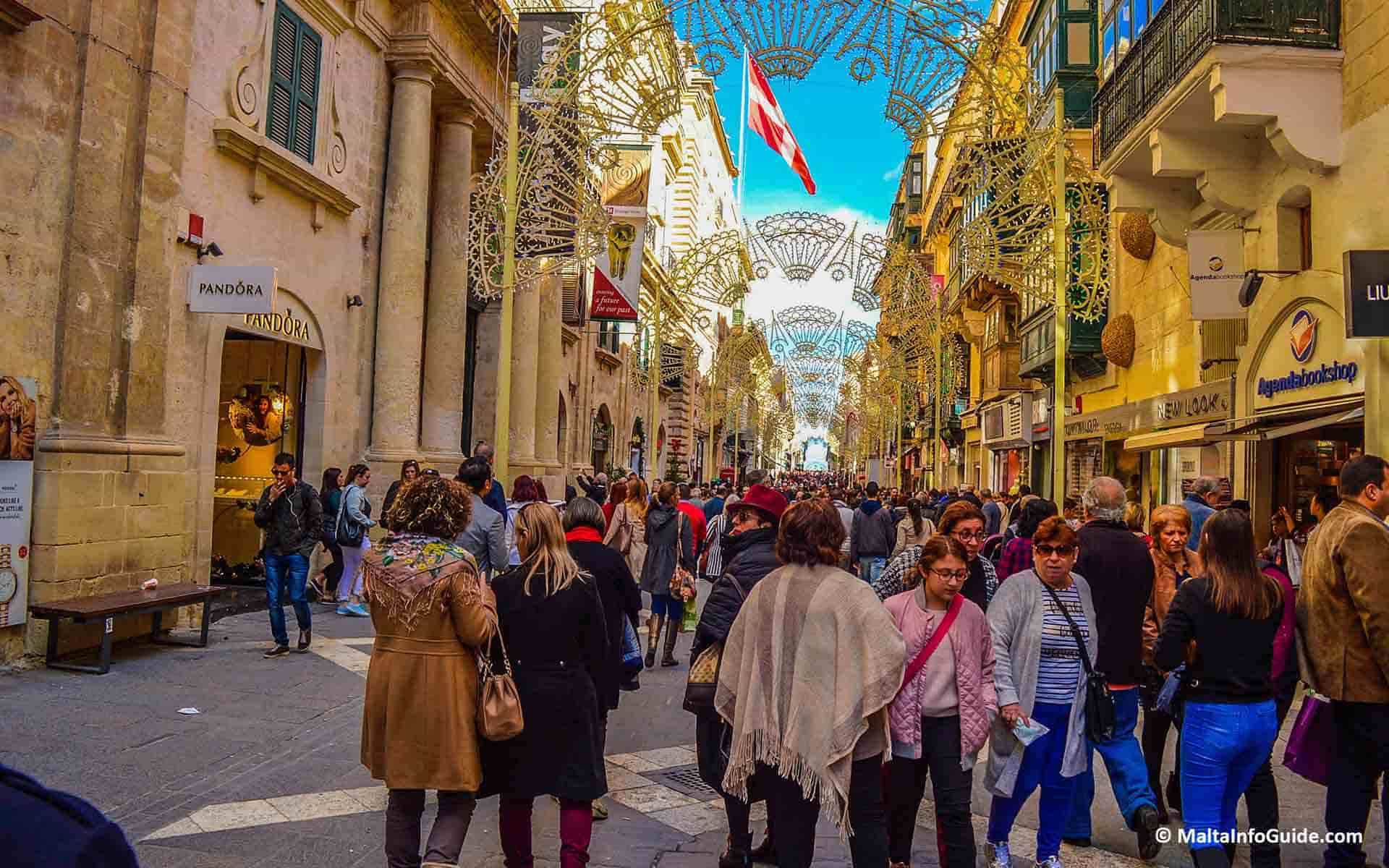 Republic street in Valletta during a busy day